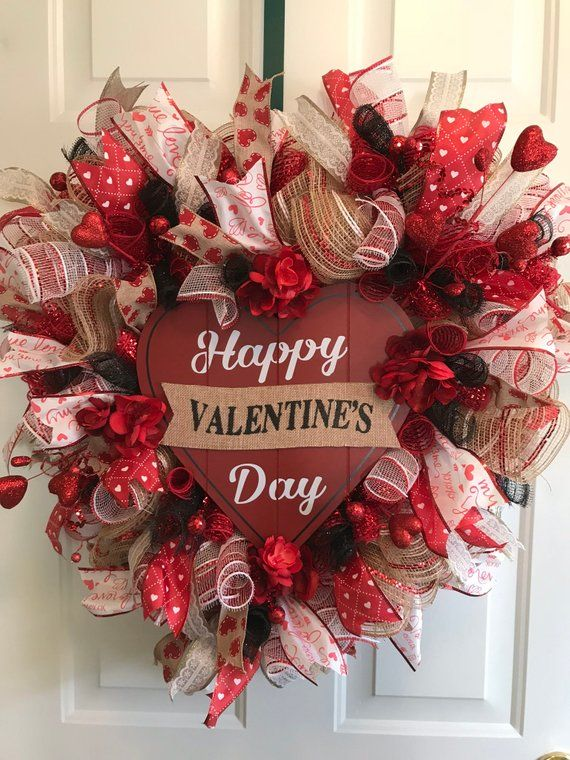 Heart Shaped Valentine S Day Wreath Valentine S Day Gift Deco Mesh