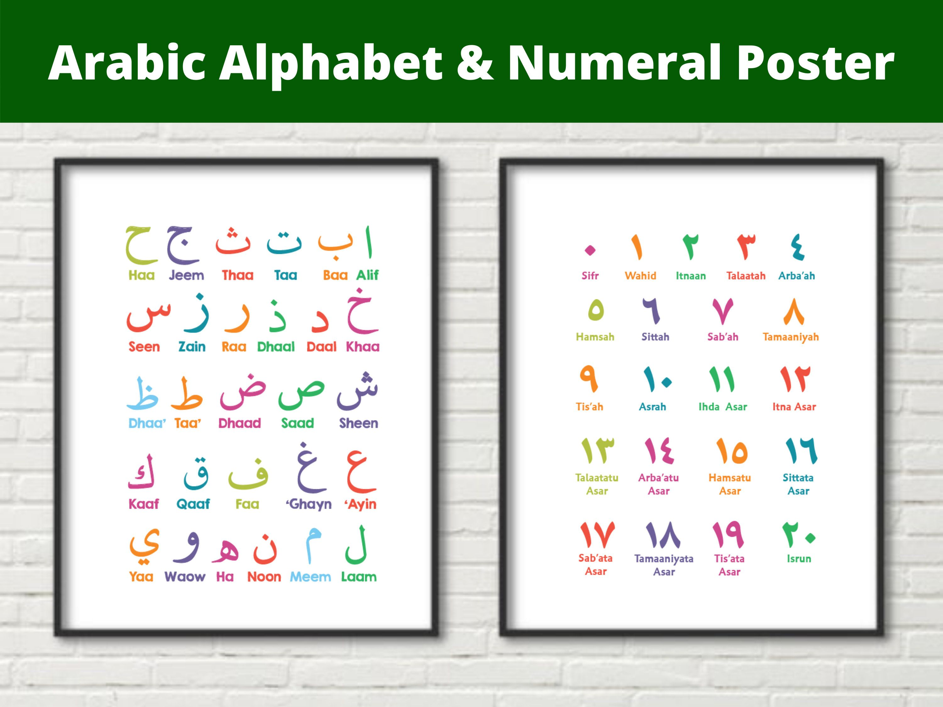 Arabic Alphabet And Numeral Poster Printable Digital Download Etsy In 2021 Arabic Alphabet Letter Form Word Cards