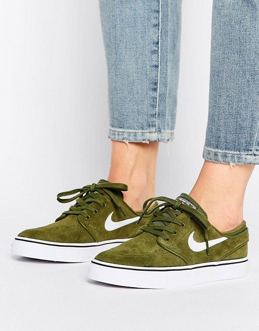 size 40 70da0 cb5ac Nike SB Zoom Janoski Trainers In Khaki  Accessorize - Footwear  Pinterest   Khaki nike trainers, Nike sb zoom janoski and Shoes