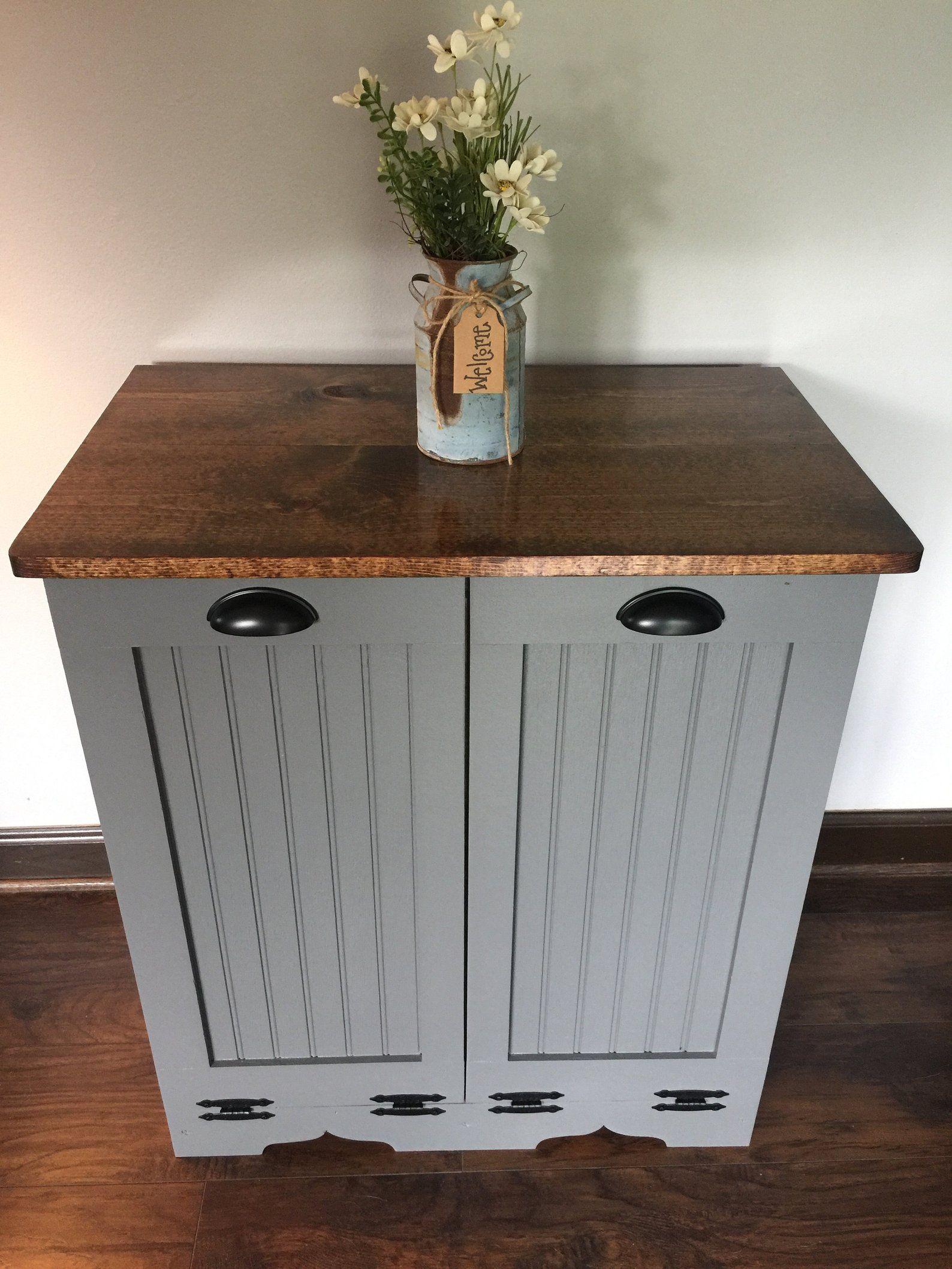 Double Trash Bin Tilt Out Door Wood Trash Recycle Bin Etsy Trash And Recycling Bin Recycling Bins Trash Bins