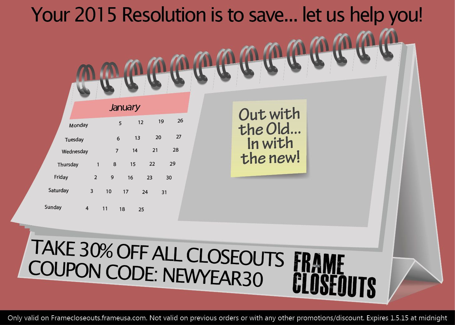 Take 30% off Closeouts with coupon code: NEWYEAR30 Expires 1.5.15 at ...