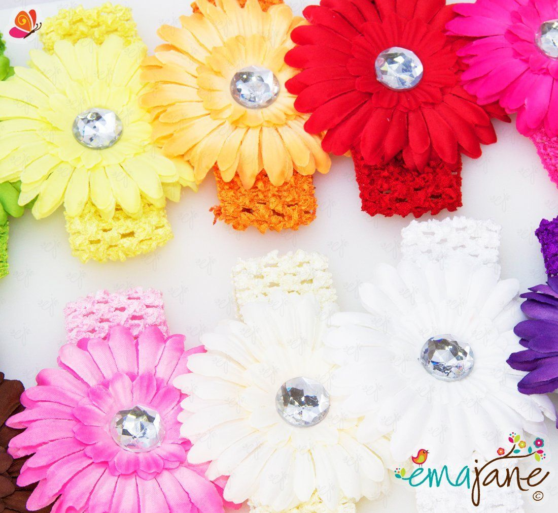 Ema Jane 13 Large Assorted Gerber Daisy Flower Hair Clips With