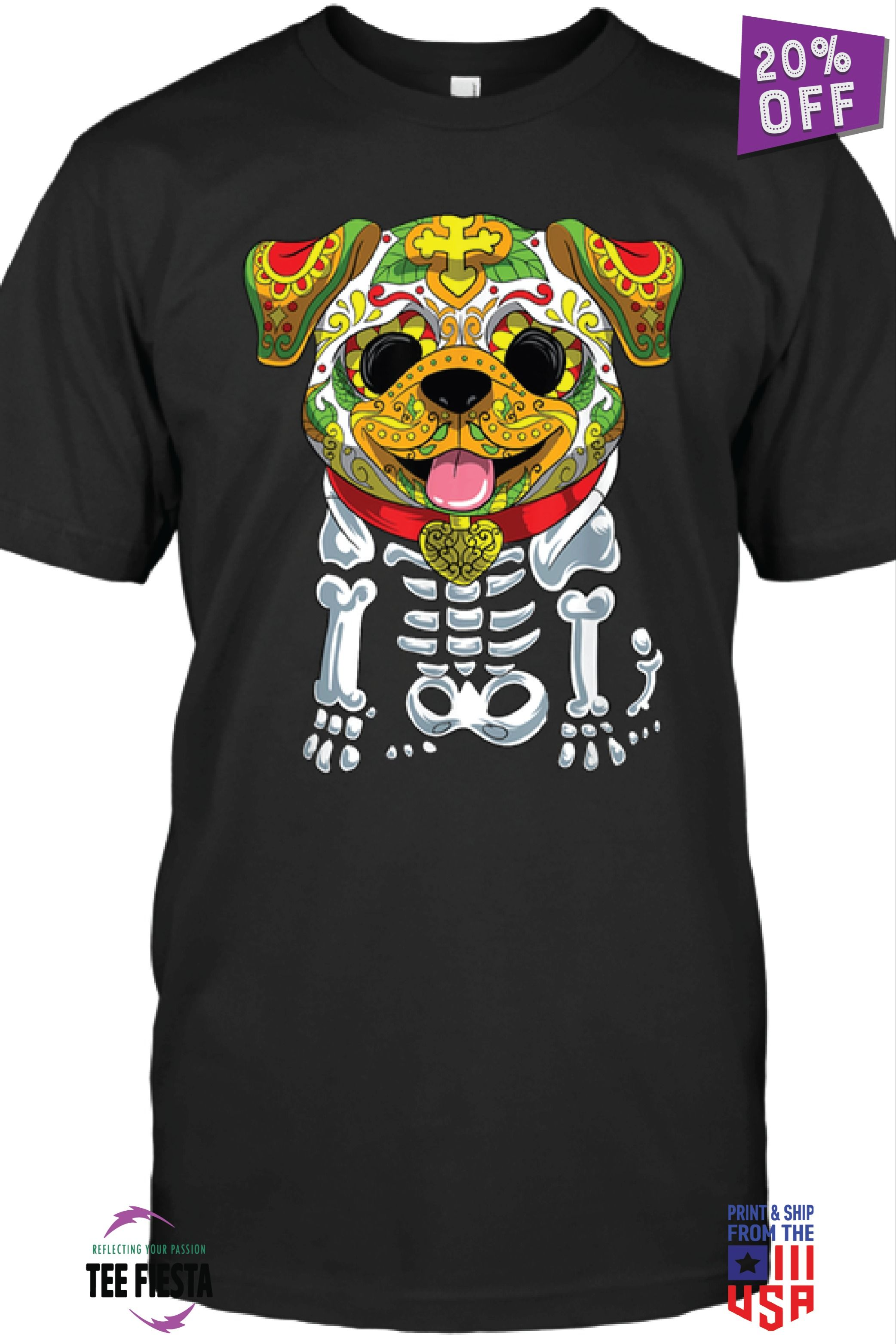 SUGAR SKULL BULLDOG FUNNY HALLOWEEN UNISEX SHIRTS | GET 20% OFF | LIMITED TIME OFFER #funnybulldog