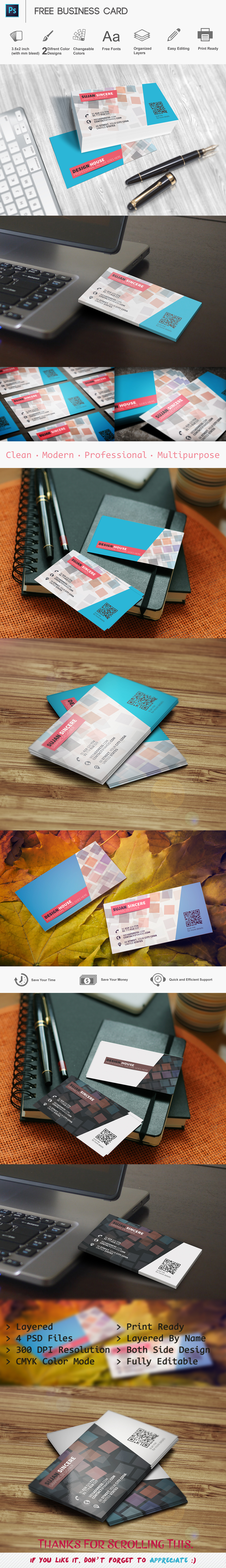 Free Colorful Business Card Template on Behance = More at