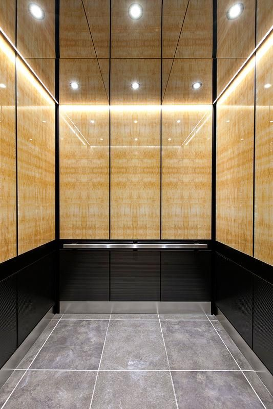 levele 105 elevator interior with upper panels in vivistone honey onyx standard finish lower. Black Bedroom Furniture Sets. Home Design Ideas