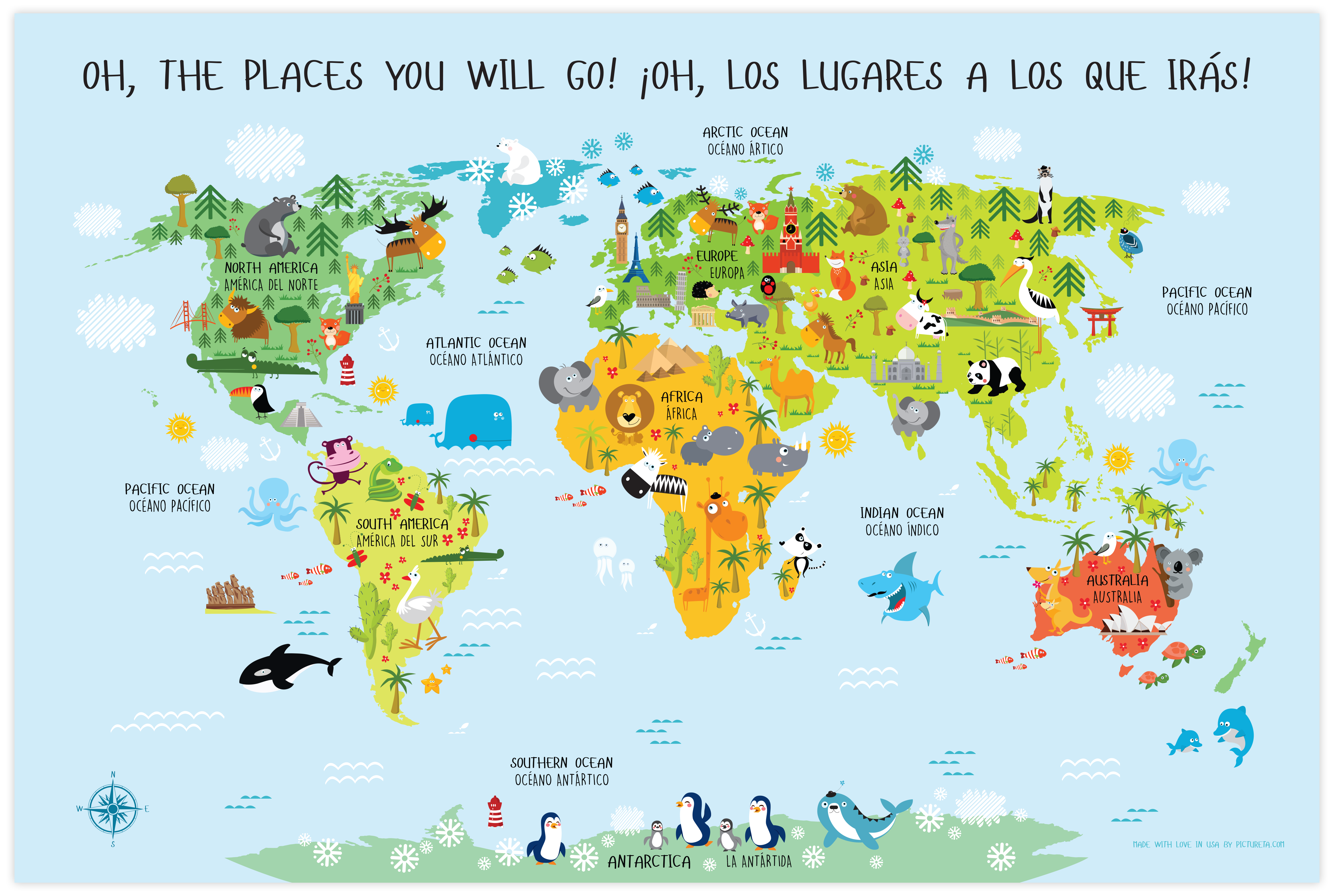 Map Of The World In English.World Map For Kids Spanish English Digital Download Babies