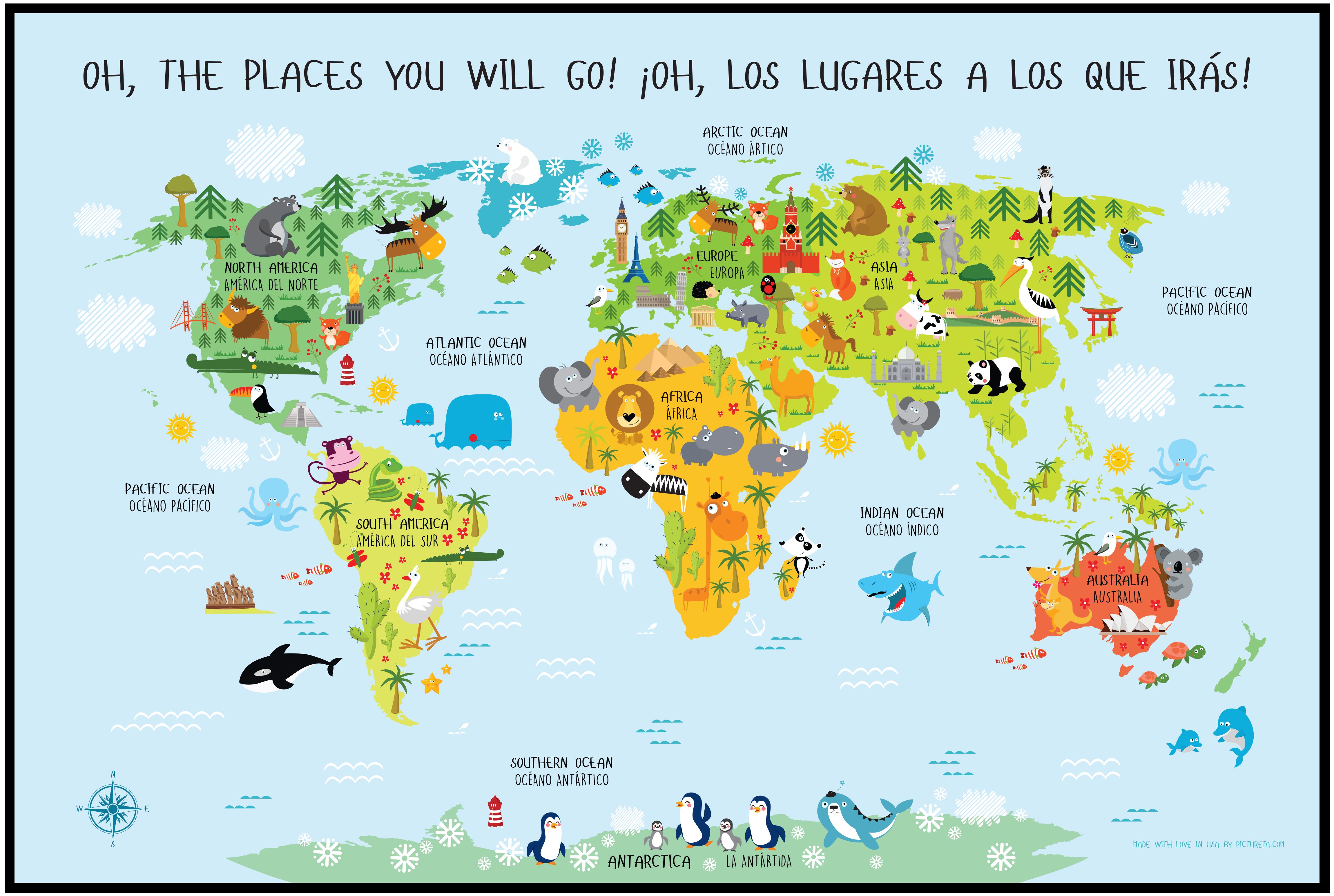 World Map For Kids Spanish English Digital Download Babies