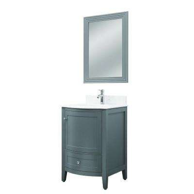 Pics On Kokols Elise in H Vanity in Grey with Quartz Vanity Top in White with White Basin and The Home Depot