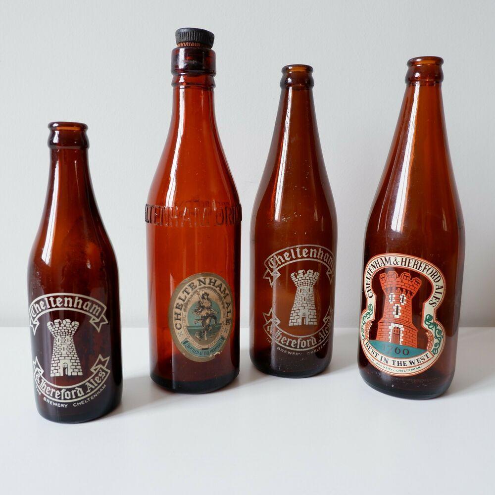 ANTIQUE VINTAGE CHELTENHAM ORIGINAL BREWERY CO LTD RARE BROWN GLASS BOTTLE