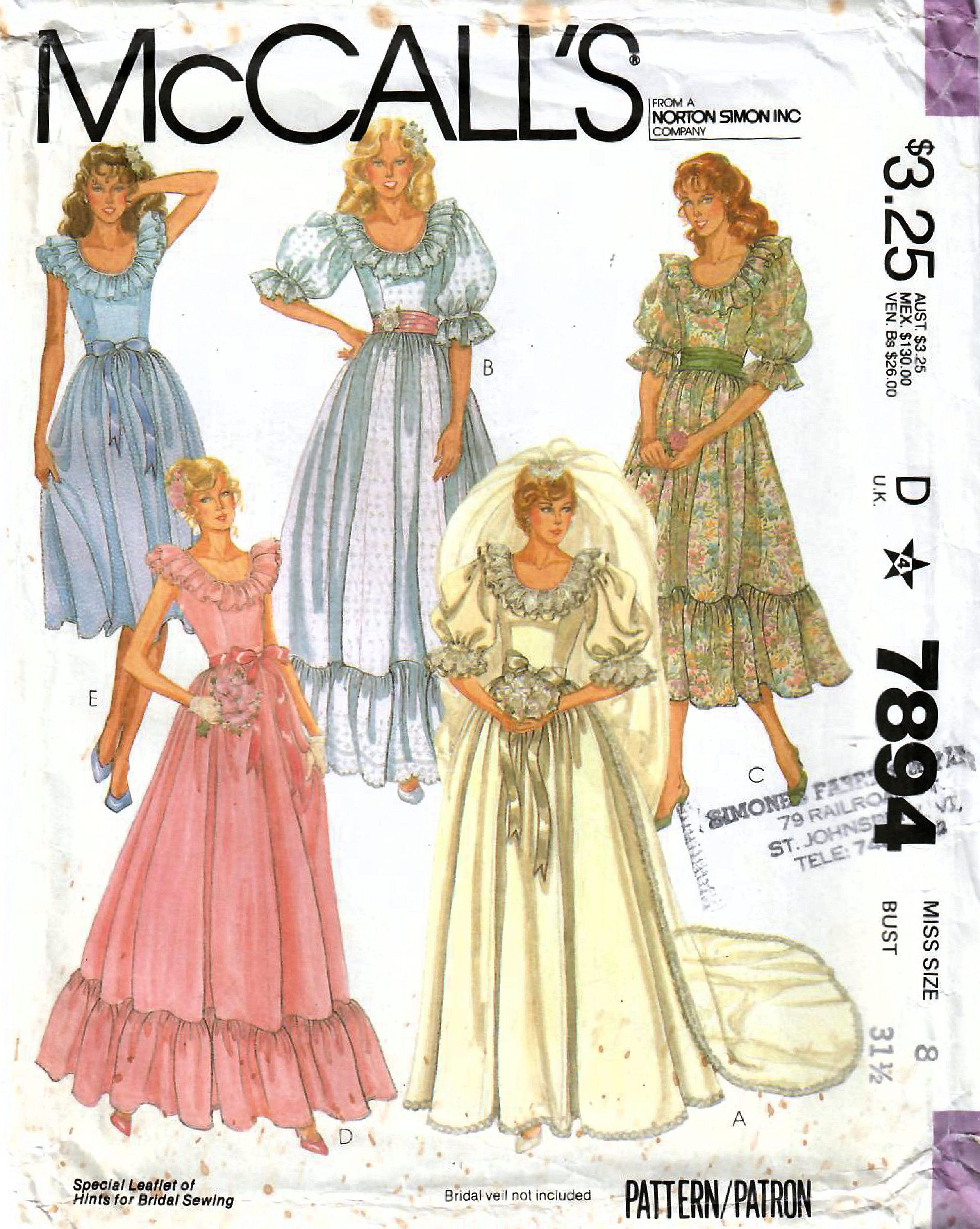 1980s Mccall S 7894 Uncut Vintage Sewing Pattern Bridal Etsy In 2020 Wedding Dress Patterns Wedding Gown Patterns Gown Sewing Pattern [ jpg ]
