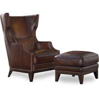 Espresso Brown Wingback Leather Chair U0026 Ottoman   RC Willey Furniture Store