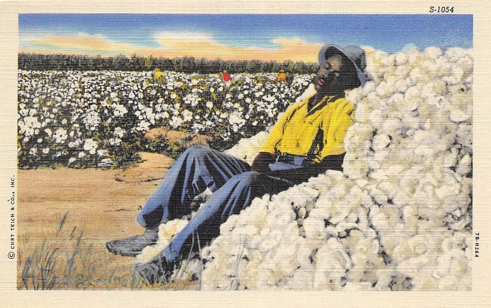 BLACK AMERICANA Postcard Linen PICKING COTTON SCENES Sleeping 174