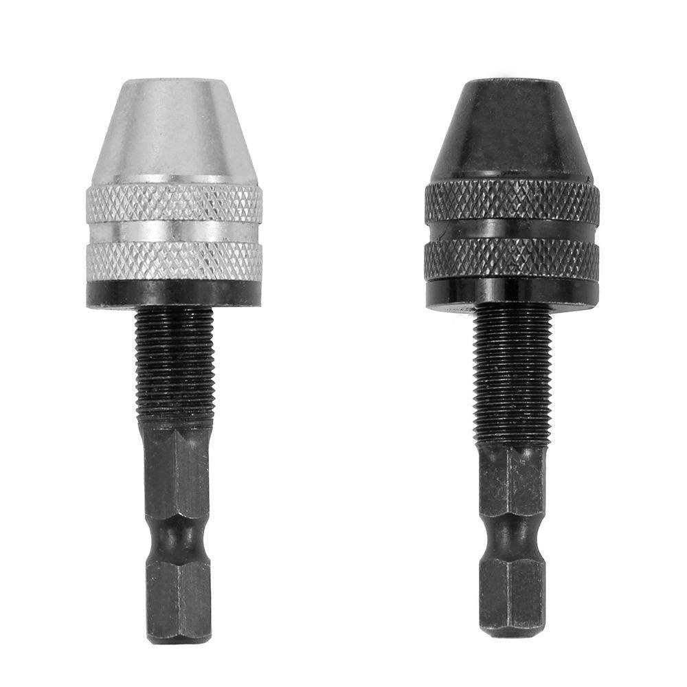 1pc 1 4 Hex Shank Drill Bit Tool Keyless Drill Chuck Screwdriver Impact Driver Adapter Sliver Black Color 0 3 3 6mm Drill Bits Drill Chucks Tools