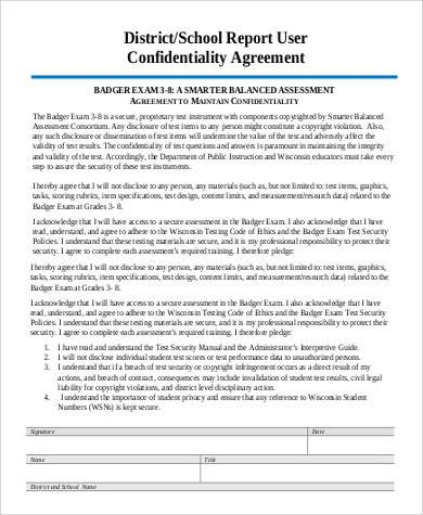 report confidentiality agreement investigation sample format