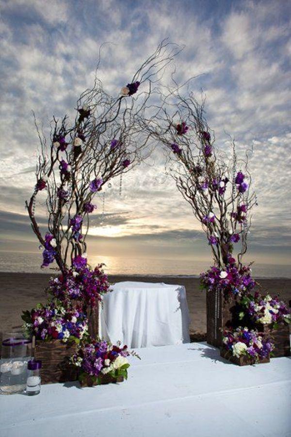 25 wedding arches decoration ideas purple accents woods for Arch decoration ideas