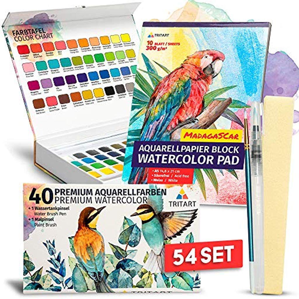 Tritart Aquarellfarbkasten Set 54 Teile I 40 Aquarellfarben