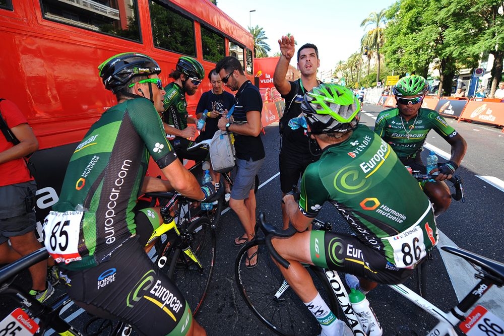 Gallery: 2014 Vuelta a Espana: Stage 4 - The Europcar team needed to refuel after a hot day at the office. Photo: Tim De Waele | TDWsport.com