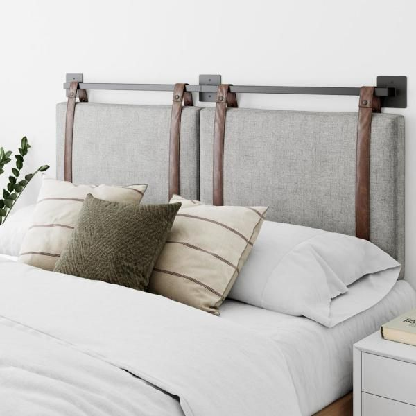 Nathan James Harlow 72 In King Wall Mount Gray Upholstered Headboard Adjustable Brown In 2020 Gray Upholstered Headboard Upholstered Headboard Wall Mounted Headboards