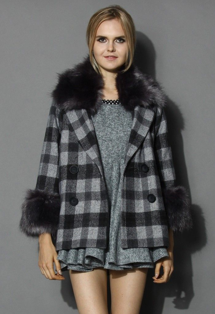 Classy Check Print Wool Coat with Fur Trimming