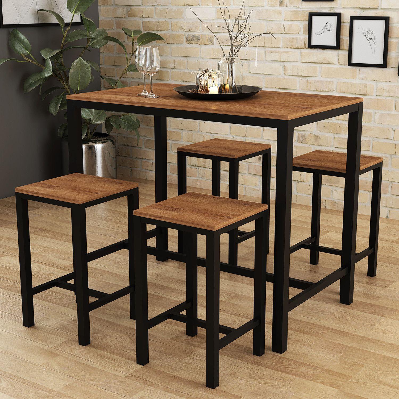 Reakfast Bar Table and 2 Stools Set Industrial Breakfast Bar Table Dining Set UK