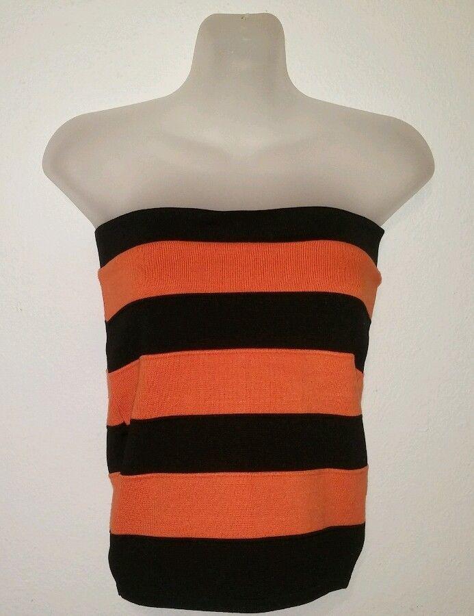 AMAZING GRACE Womens Size L Large Orange/Black Strapless Halter Top #AmazingGrace #Halter #EveningOccasion