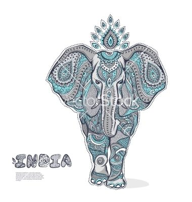 Vintage elephant vector by transia on VectorStock® | Henna | Pinterest
