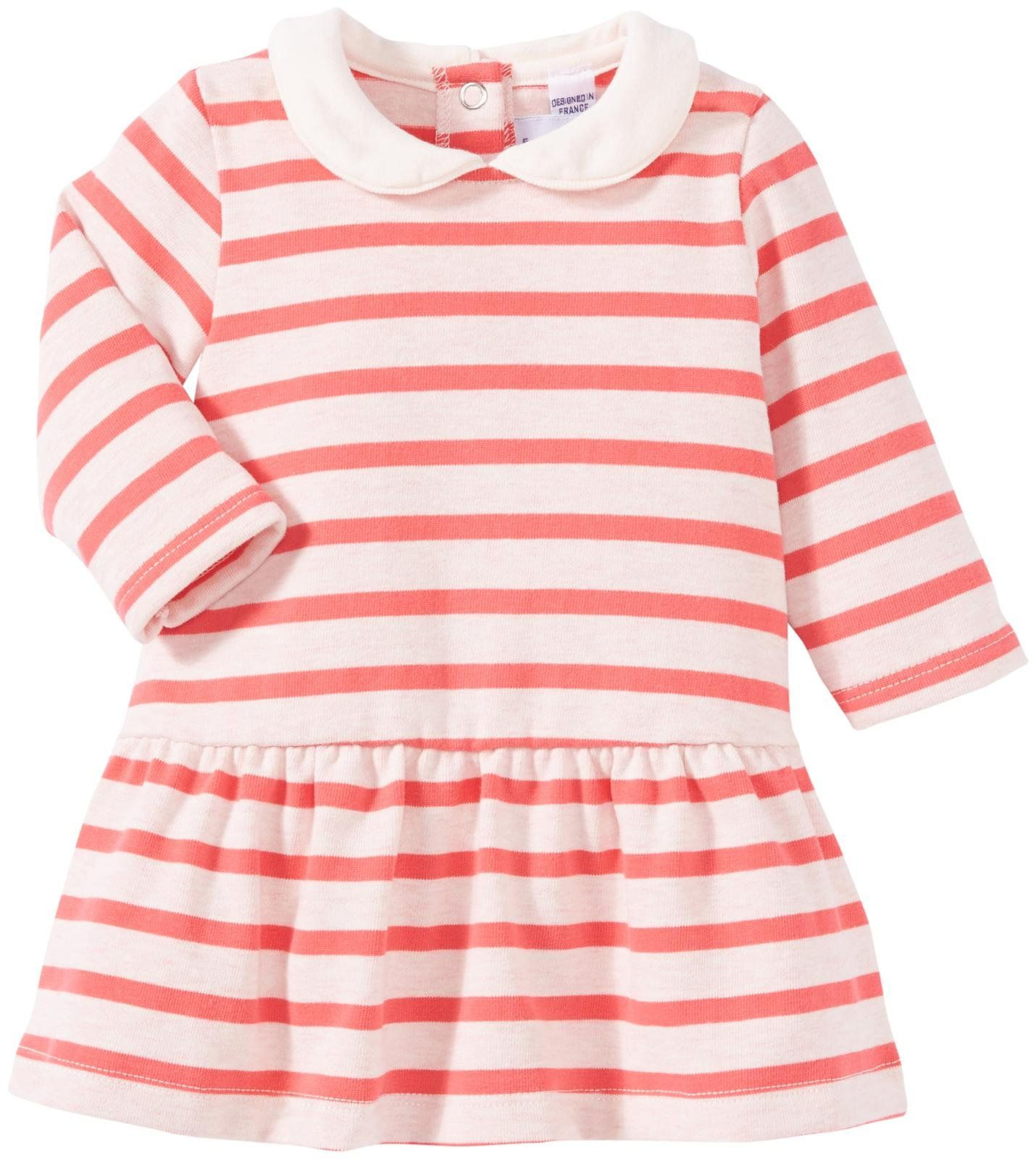 Petit Bateau Striped Dress with Collar Baby Pink Free Shipping