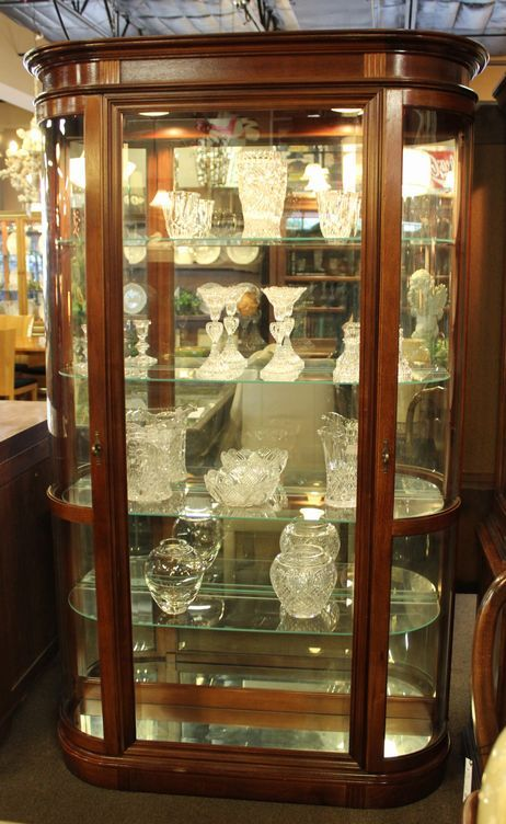 Tall Curved Front Lighted Pulaski Curio Cabinet With 2 Side Doors, 4 Glass  Shelves,