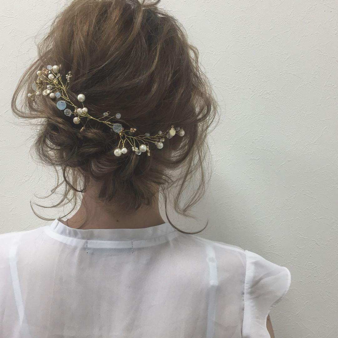 短くってもアレンジいろいろ ボブ ミディアムヘア の花嫁ヘア