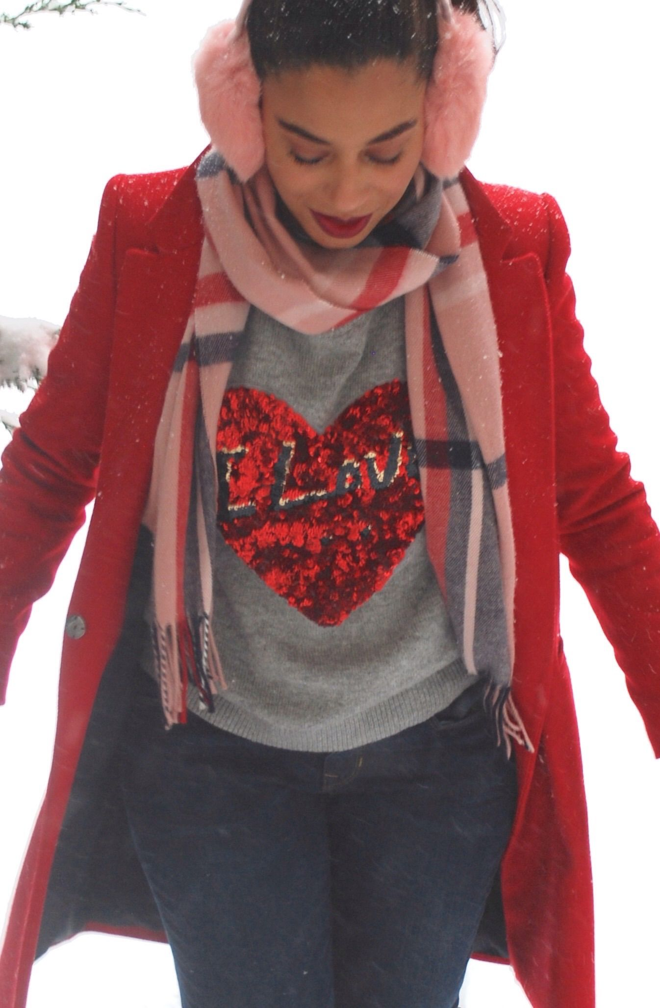 d2915bbdf5f This Season's Gold - Snowstorm // Pink faux fur earmuffs, Pink plaid scarf  - perfect casual #Valentine's Day outfit