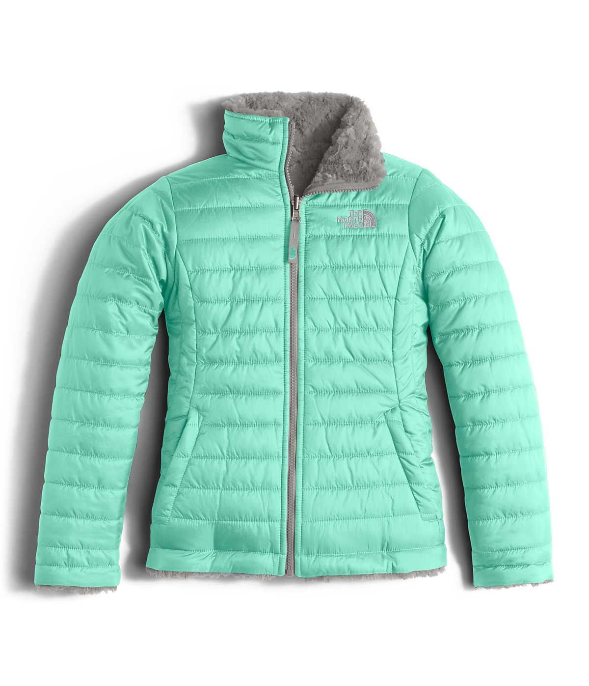 7214ec7dec51 The North Face Reversible Mossbud Swirl Jacket for Girls in Ice Green  NF00CN01-HCM