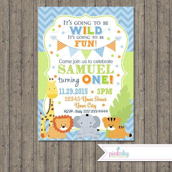 Jungle Animals First Birthday Invitation, Safari Birthday