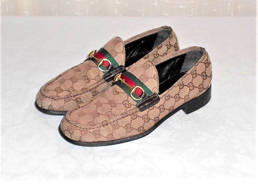 fa5935634 Vintage Gucci Fabric GG Monogram Horse Bit Loafer For REPAIR Made Italy US  9.5D #Gucci #HorseBitLoaferSlipOn