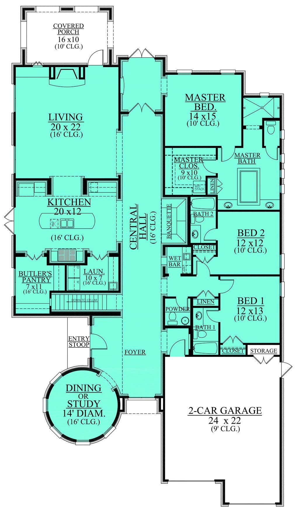 European Style House Plan - 3 Beds 3.5 Baths 3222 Sq/Ft Plan #430 ...