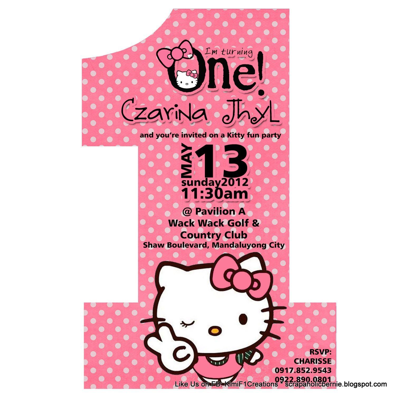 Sample invite nahyas 1st birthday hello kitty pinterest sample invite stopboris Images