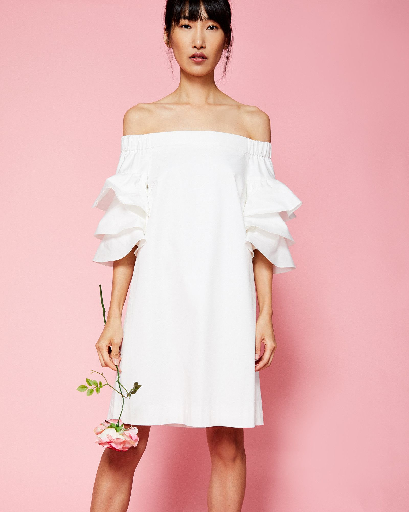 Ted Baker Frilled Bardot dress White | Pinterest