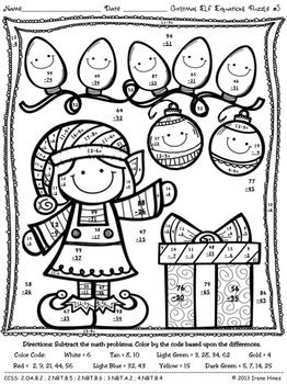 Christmas Math Activities Christmas Elf Equations Color By The Code Puzzles Christmas Math Christmas Math Printables Math Coloring Worksheets
