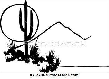 cactus desert illustrated panels moon mountain southwest