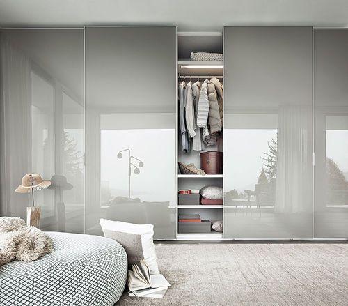 Armoire de chambre contemporaine   en bois laqué brillant   en - armoire ikea porte coulissante