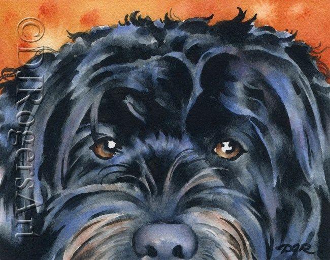 SHIH TZU Dog Watercolor Painting 8 x 10 Art Print by Artist DJ Rogers w//COA