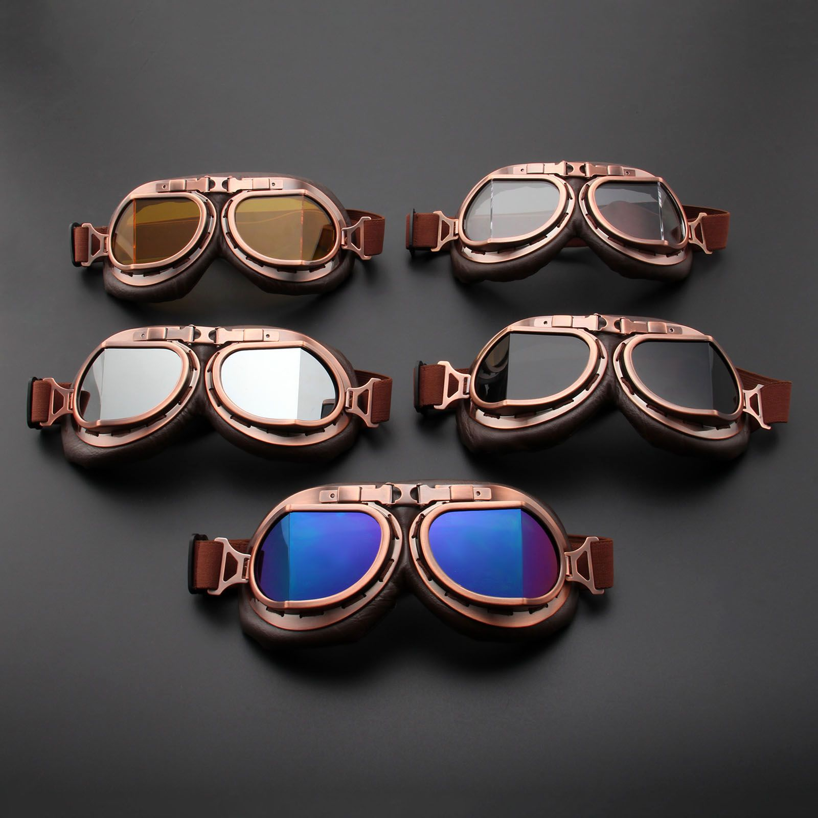 b3e03f136d 2000+Orders Price 10.17 Motorcycle Goggles Glasses Vintage Motocross  Classic Goggles Retro Aviator Pilot Cruiser Steampunk ATV Bike UV  Protection Copper