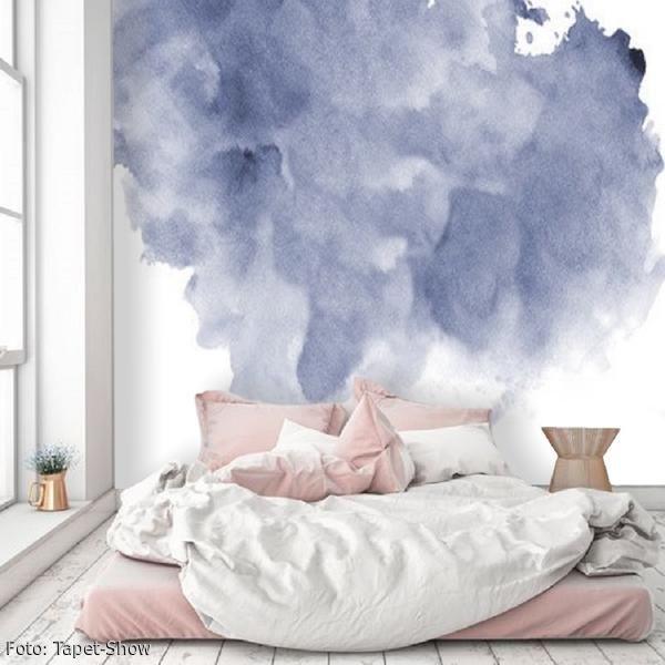 Fototapete Mit Aquarell Motiv Im Schlafzimmer? Toller Effekt Für Die  Wandgestaltung. #pastell #aquarell #tapete