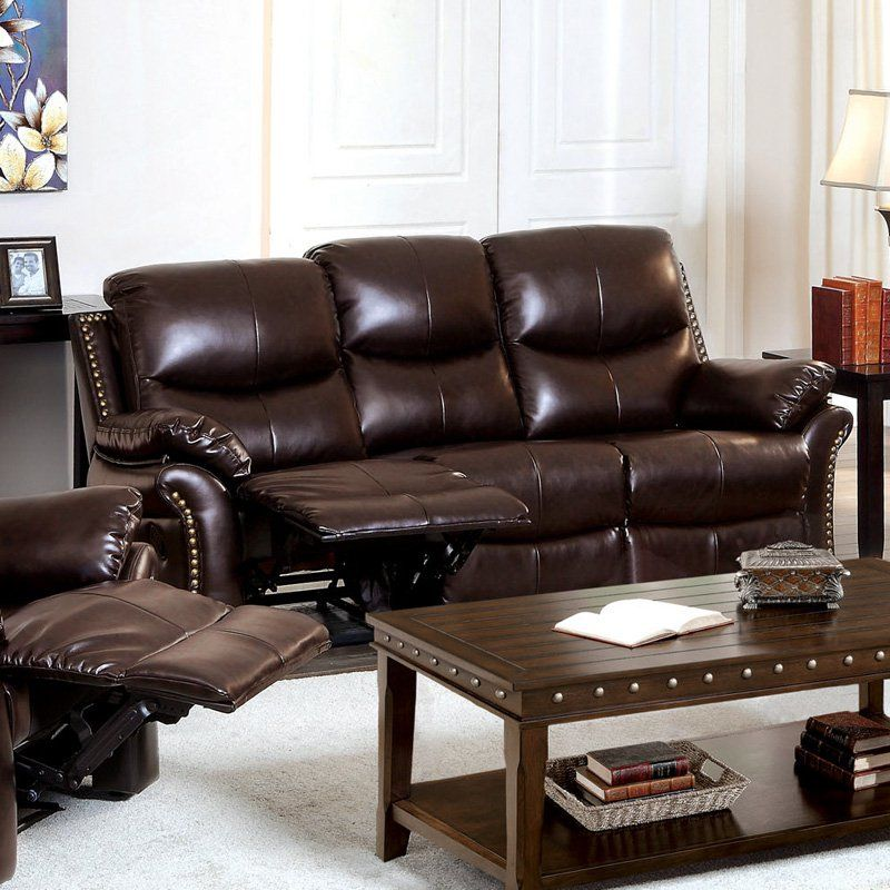 reclining sofa with nailhead trim ivory and loveseat furniture of america norfolk bonded leather rustic dark brown idf 6718 s
