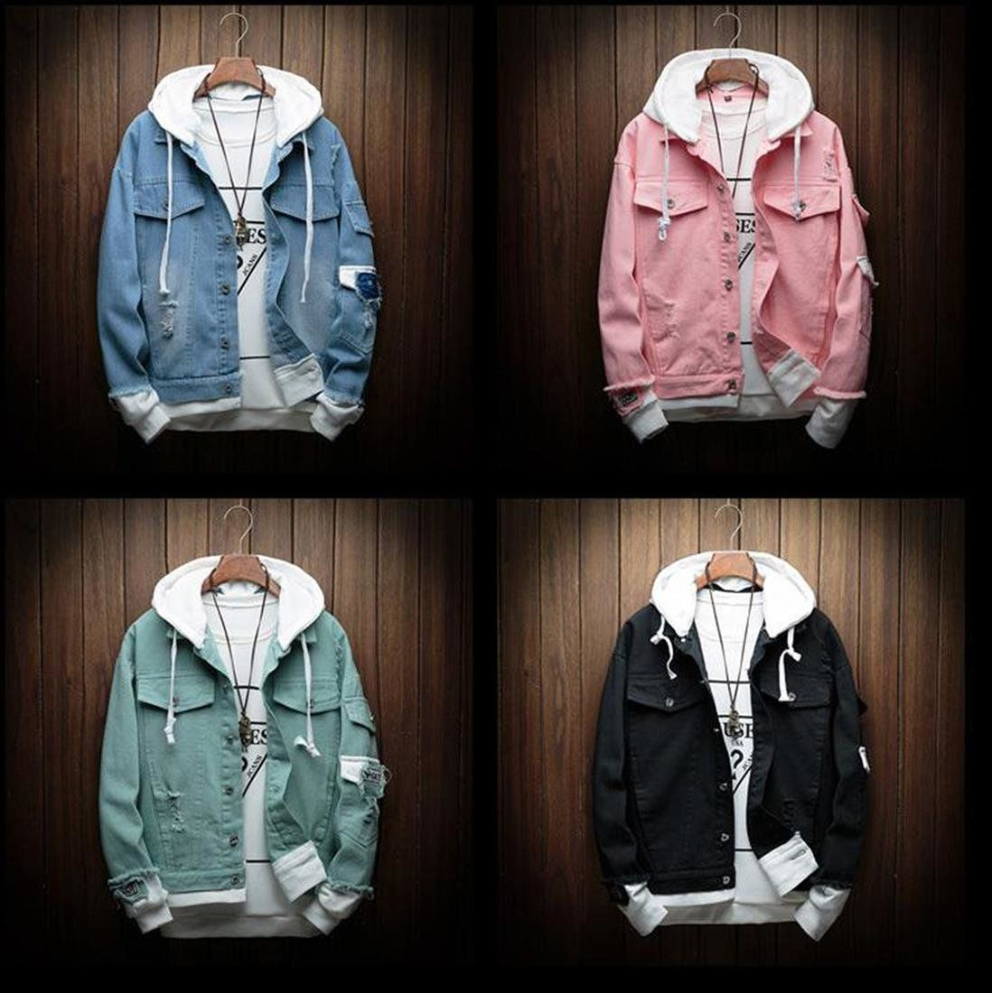set Denim Jean Cloth Cowboy Streetwear for Autumn is part of Hooded denim jacket -  Cotton Clothing Length Regul