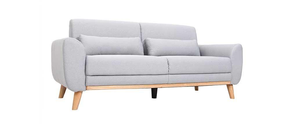Canapé Design Places Tissu Gris Clair Pieds Chêne EKTOR Home - Canapé 3 places pour salon interieur moderne