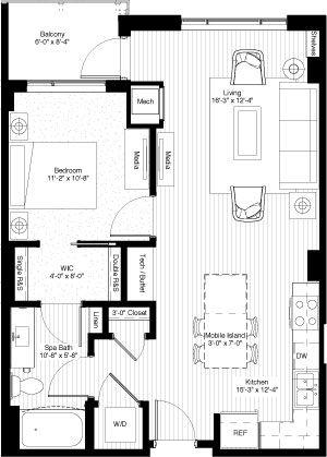 One Bedroom 744 Square Feet Floors 2 11 Ph1 Ph2 Tiny House Floor Plans Small House Floor Plans One Bedroom House