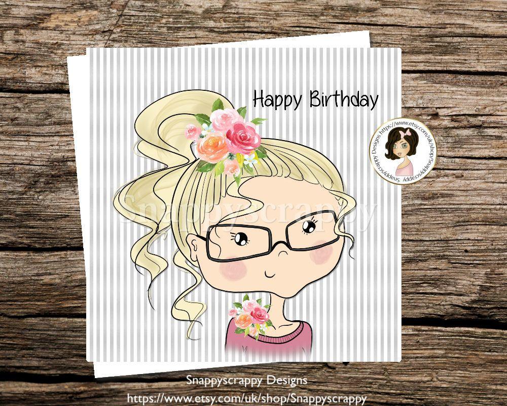 Girl birthday greeting card printed cards happy birthday grey girl birthday greeting card printed cards happy birthday grey white m4hsunfo