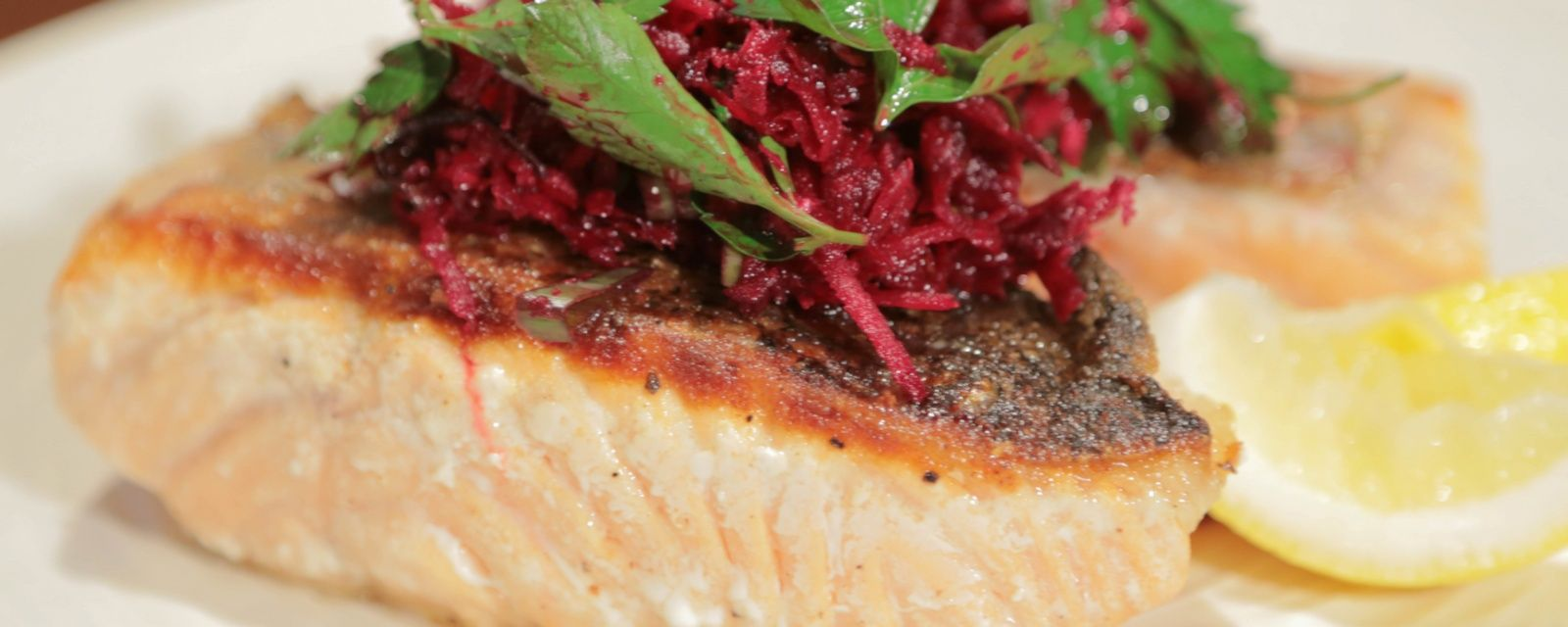 Salmon with beet salad, add a little less horse-radish next time. -SBW