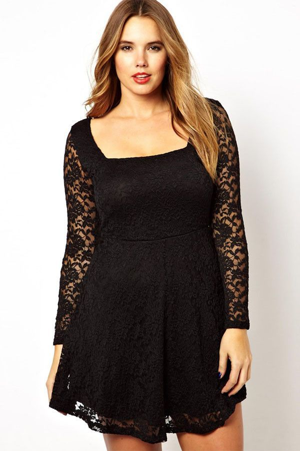 Big n Trendy Black Lace Overlay Skater Plus Size Dress  b0e59e45a47a