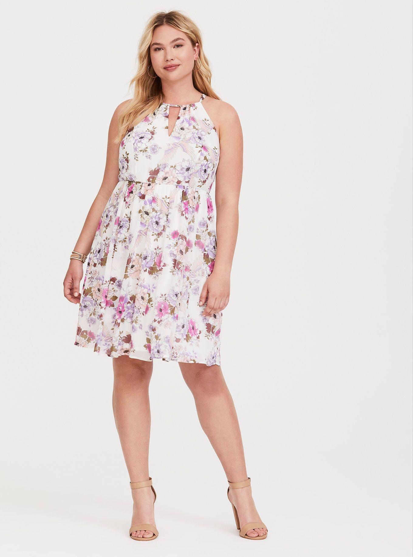Ivory Floral Chiffon Mini Dress Dresses, Floral chiffon